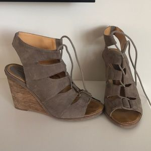 Stone suede wedges